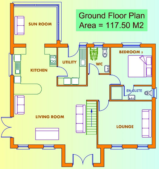 Ground floor plans of a house house design plans for Area of a floor plan